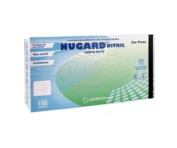 LUVA DE PROCEDIMENTO NITRÍLICA PRETA  SEM PÓ  (CAIXA C/100 UND) - NUGARD