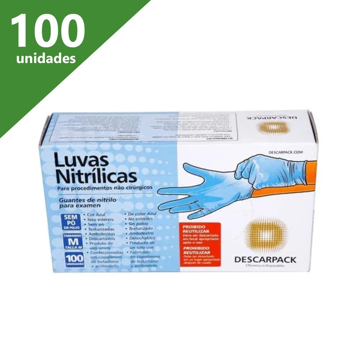 LUVA DE PROCEDIMENTO NITRÍLICA SEM TALCO AZUL (CX C/100) - DESCARPACK