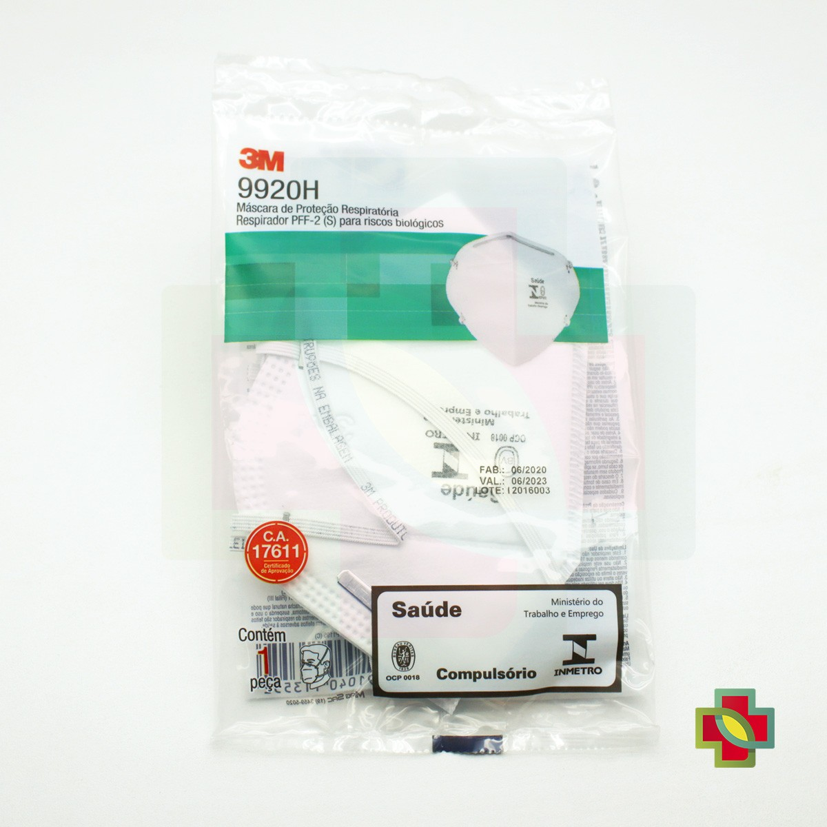 MÁSCARA DE PROTECAO N95 PFF2-S 9920H/180 HOSP.BRANCA (PCT C/100 UND) - 3M