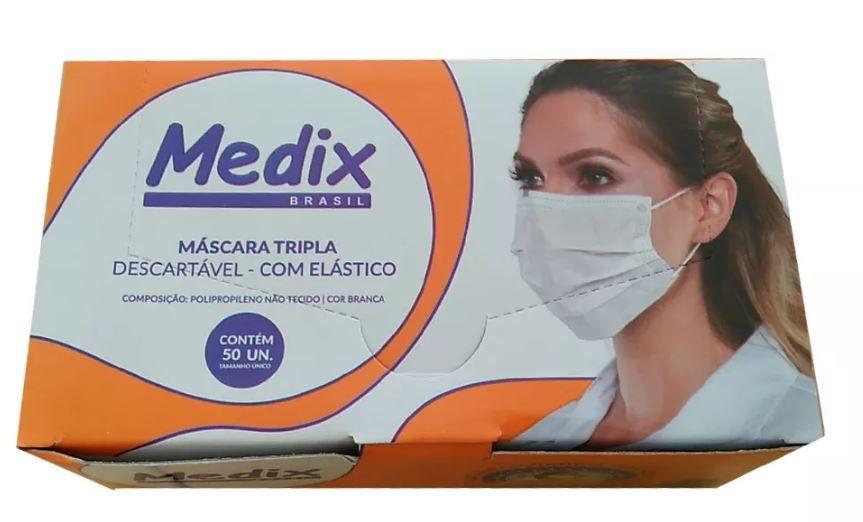 MÁSCARA DESCARTÁVEL TRIPLA COM ELÁSTICO (C/50) - MEDIX