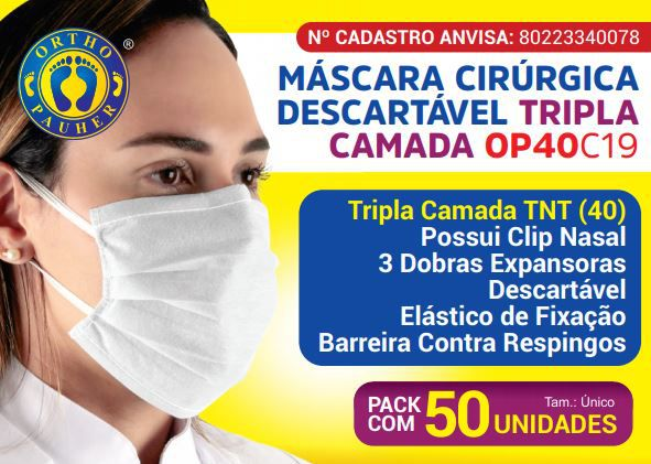 MÁSCARA DESCARTÁVEL TRIPLA COM ELÁSTICO OP40 (PCT C/100) - ORTHOPAUHER