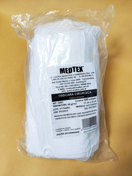 MÁSCARA TRIPLA BRANCA DESCARTÁVEL (100 UNDS) - MEDTEX