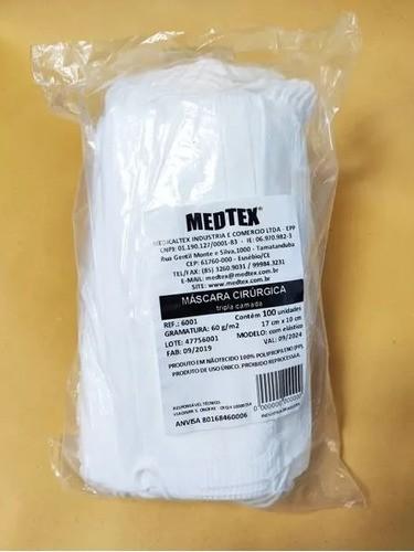 Máscara tripla Branca Descartável (100 unidades) - Medtex