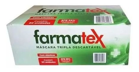 Máscara Tripla Descartável C/100 Unidades - FARMATEX