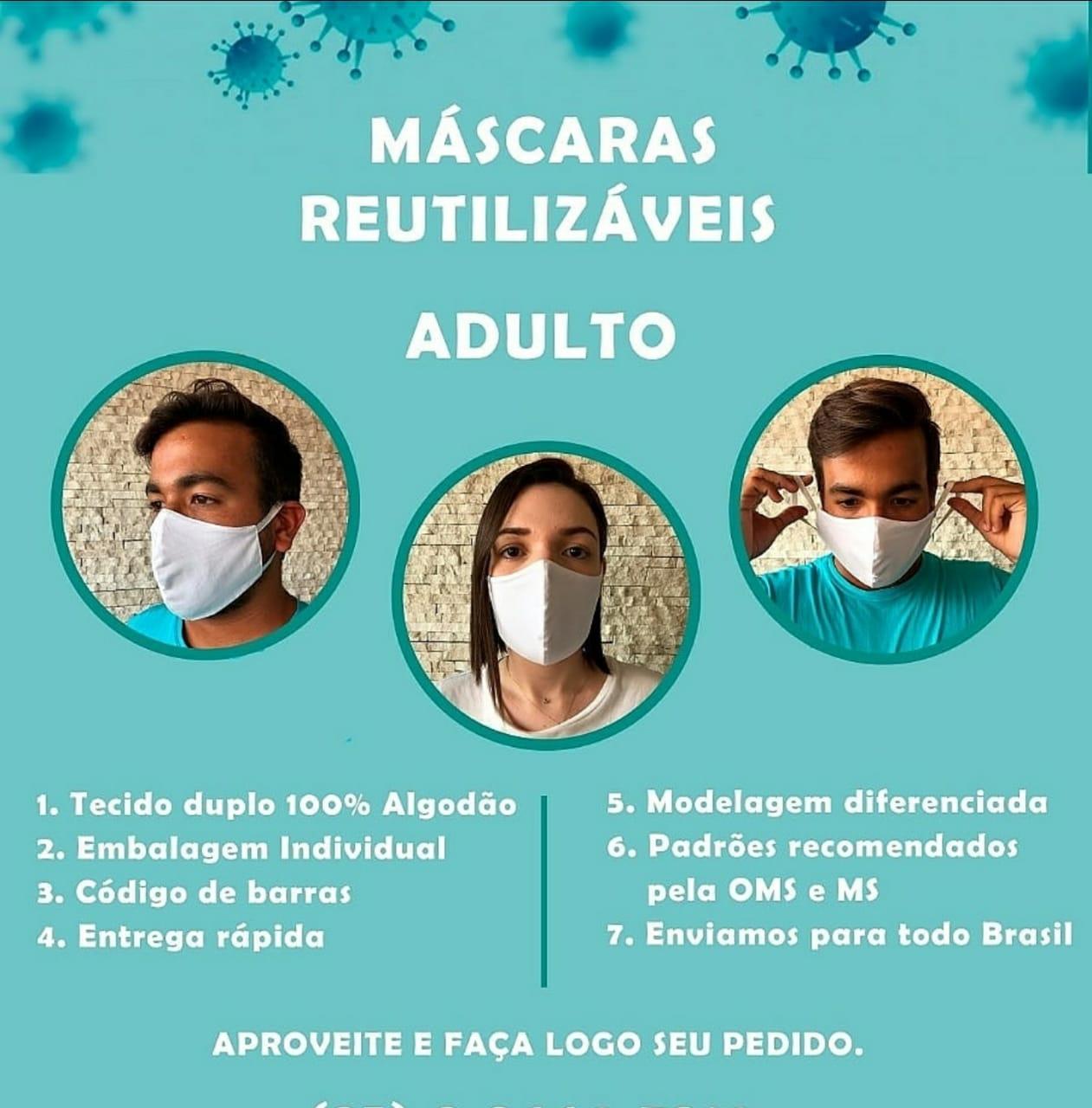 MÁSCARAS DUPLA REUTILIZÁVEIS ADULTO EM TECIDO ELASTICO - CM
