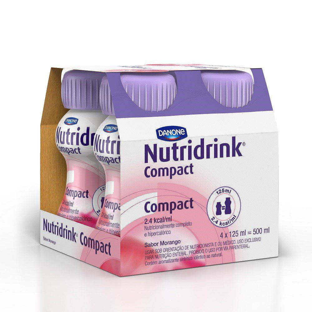 NUTRIDRINK COMPACT MORANGO 4X125ML 500ML - DANONE