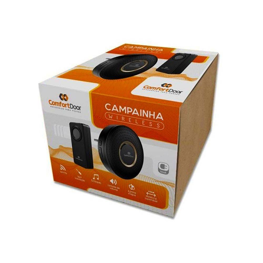 CAMPAINHA SEM FIO PRETA - PILHA 00033 COMFORT DOOR