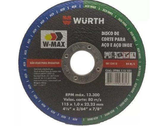 DISCO CORTE FINO W MAX 115X1,0MM 5986231150 WURTH
