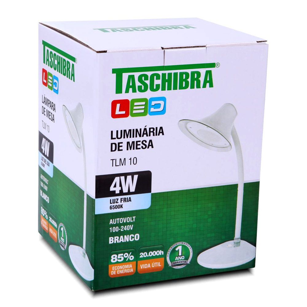 LUMINARIA MESA TLM 10 LED 220V BRANCA TASCHIBRA