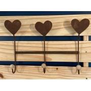 Cabideiro de Ferro (3 ganchos) - Coração