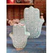 Cachepot Cerâmica - Hamsá (Mão de Fátima)