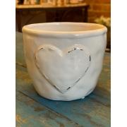 Cachepot de Cerâmica - Coração em Relevo