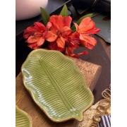 Prato decorativo de cerâmica - Folha