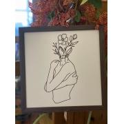 Quadro de madeira - Cabeça com flores