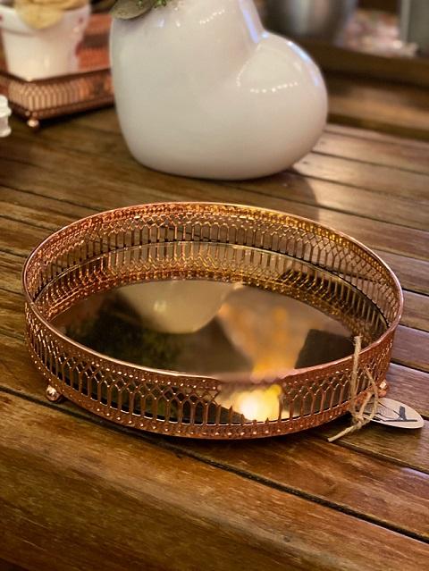 Bandeja de metal com pintura em cobre - Redonda