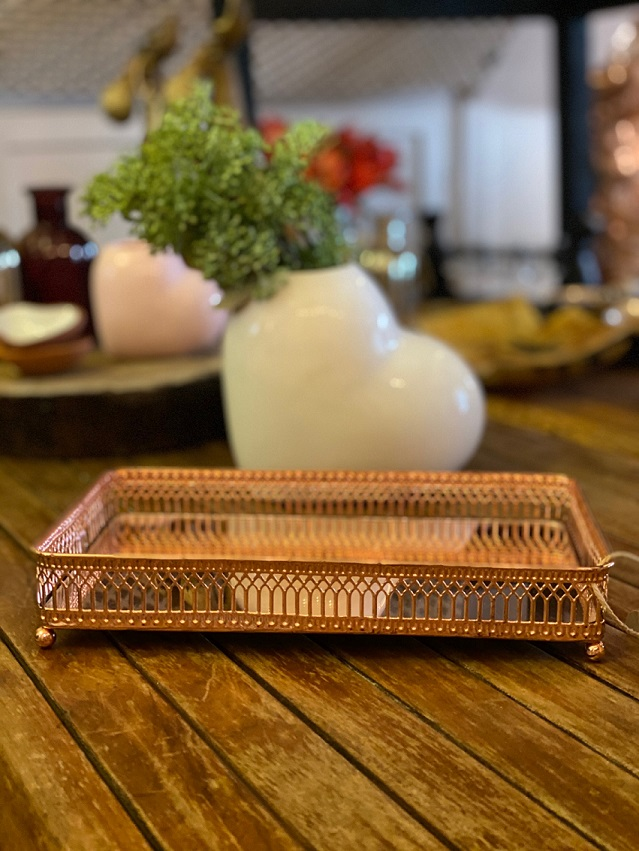 Bandeja de metal com pintura em cobre - Retangular