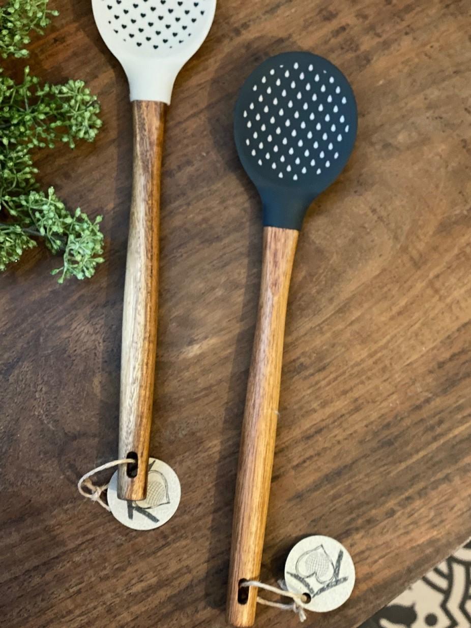 Colher de Pau Gourmet Silicone e cabo de madeira