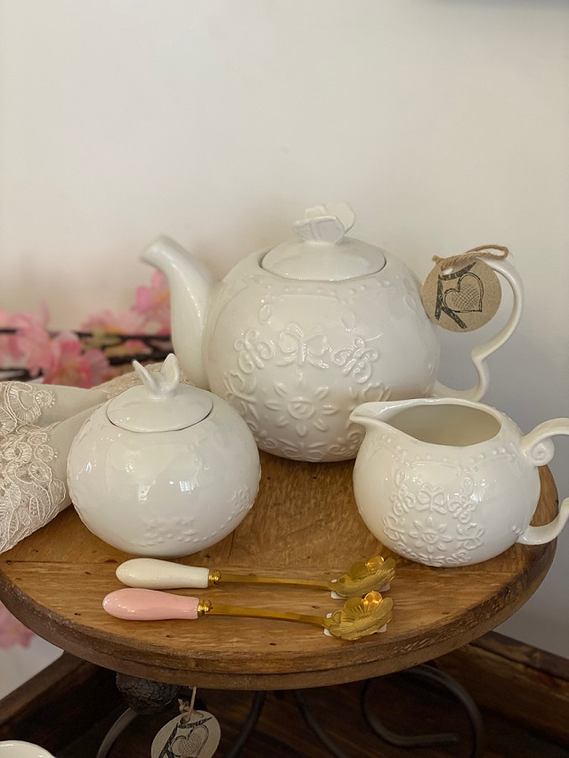 Jogo de Café 3pcs em porcelana - Borboleta