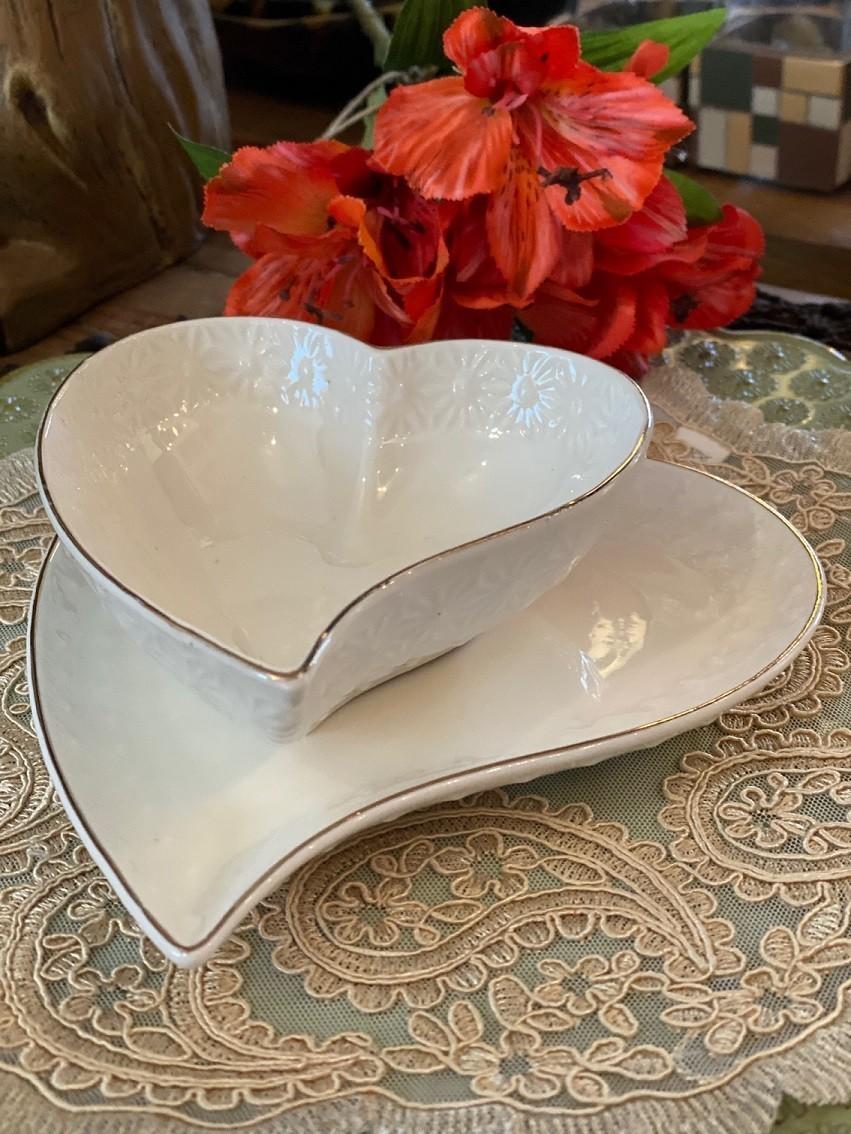 Jogo Pratinho e Bowl de Porcelana - Coração