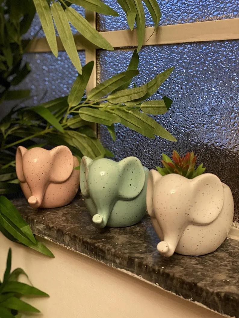 Mini Cachepot Cerâmica Elefantinho