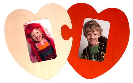 Porta Retrato de parede Puzzle Coração Duplo