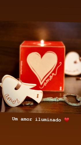 Porta Velas Cubo em Madeira Mdf - Amor