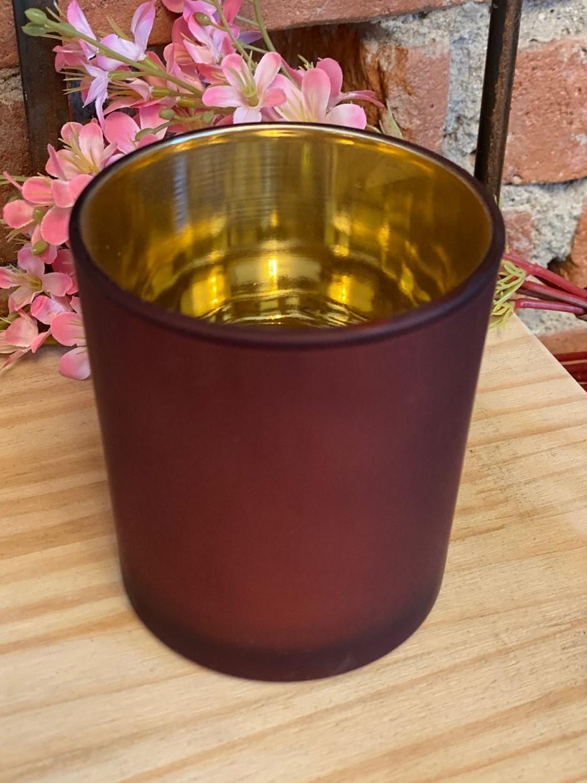Porta Velas de Vidro Vinho e Dourado