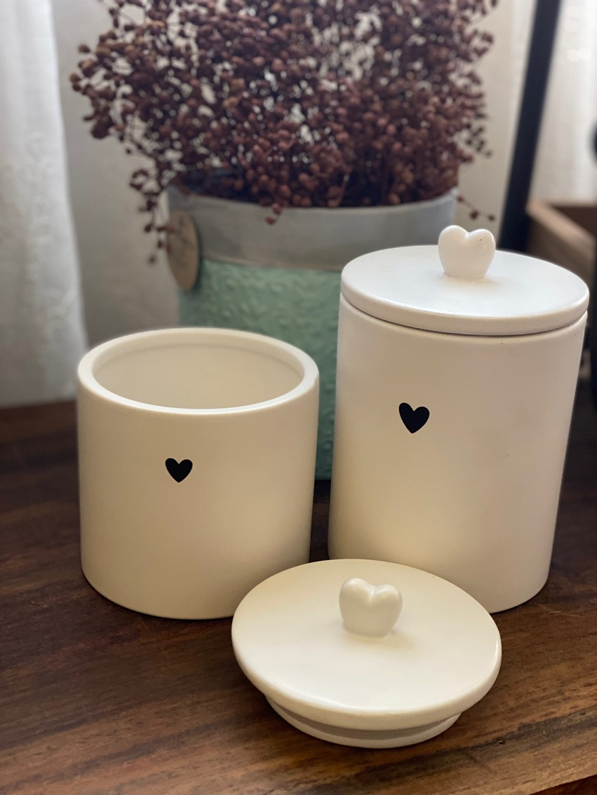 Pote de Porcelana com tampa hermética - Coração