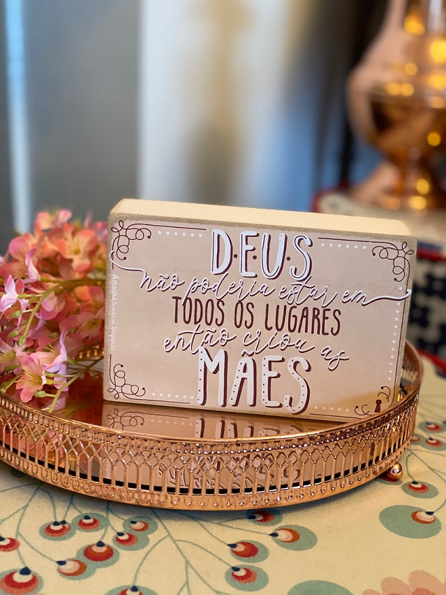 Quadrinho Box de Madeira - Homenagem a Mãe