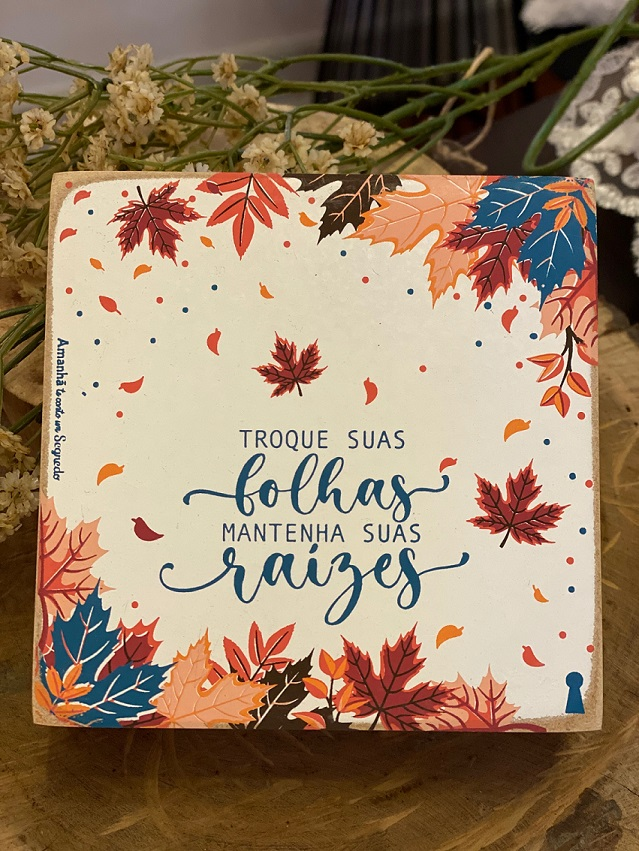 Quadrinho Box de Madeira - Outono
