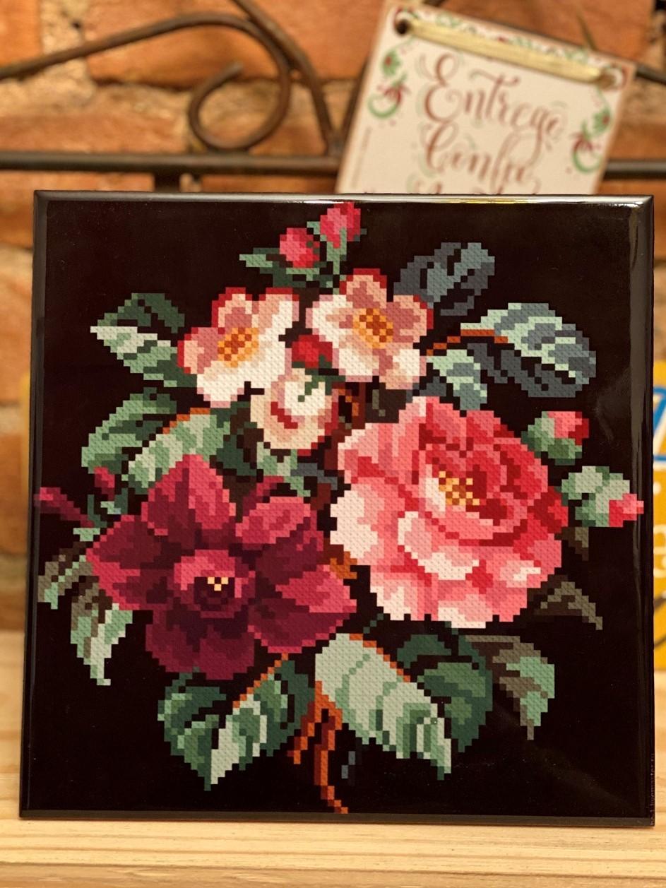 Quadro Azulejo Rose