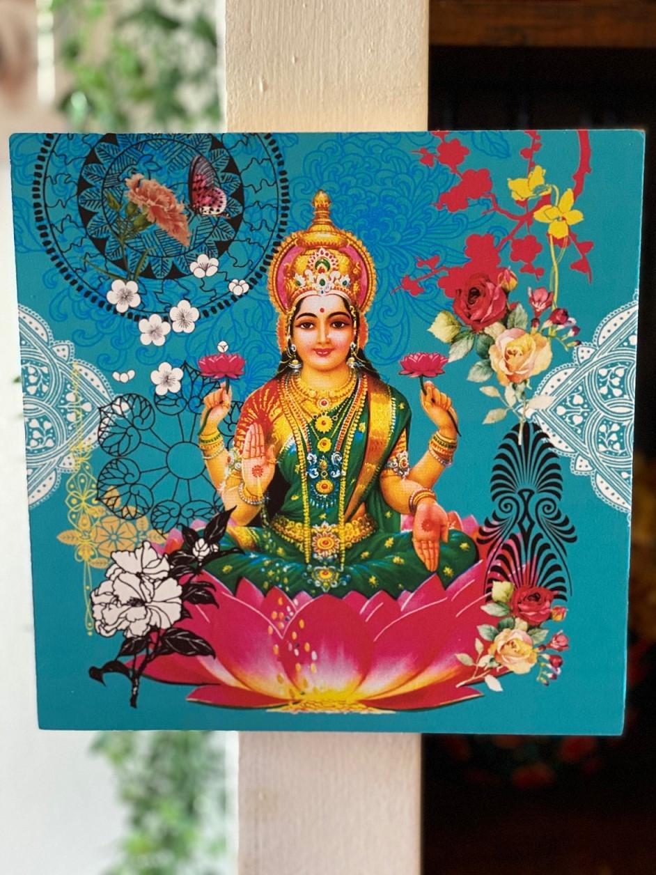 Quadro de Madeira - Deusa Indiana Lakshmi
