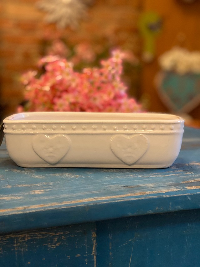 Vaso de Cerâmica - Corações em Relevo