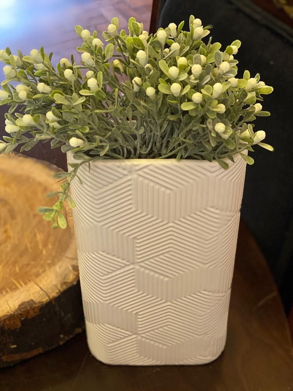 Vaso de Cerâmica - Geometric Branco