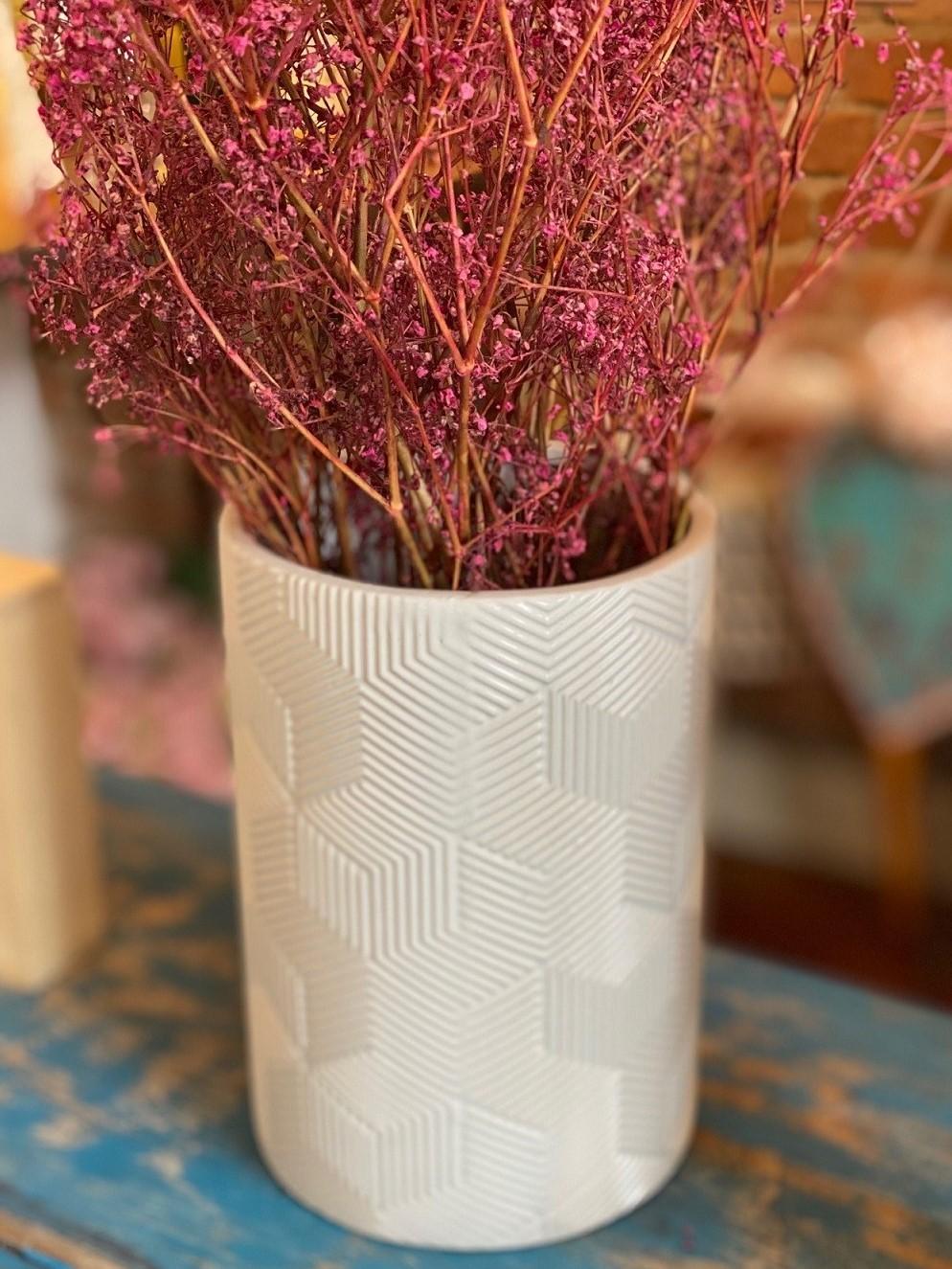 Vaso de Cerâmica - Geometric Branco Redondo
