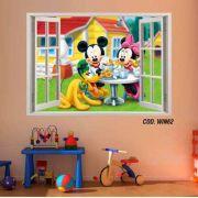 Adesivo Parede Janela 3D Mickey Minie mod05
