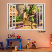 Adesivo Parede Janela 3D Fada Tinker Bell #03