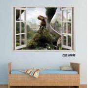 Adesivo Parede Janela 3D Dinossauro Jurassic Park #03