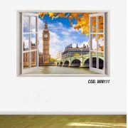 Adesivo Parede Janela 3D Cidade Londres #01