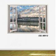 Adesivo Parede Janela 3D Cidade Londres #02