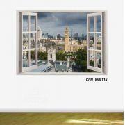 Adesivo Parede Janela 3D Cidade Londres #04
