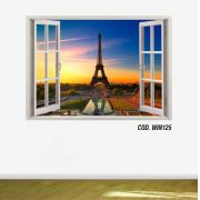 Adesivo Parede Janela 3D Cidade Paris #01