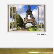 Adesivo Parede Janela 3D Cidade Paris #02
