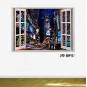 Adesivo Parede Janela 3D Cidade Nova York Ny mod05