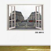 Adesivo Parede Janela 3D Cidade Londres #05