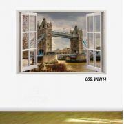Adesivo Parede Janela 3D Cidade Londres #06