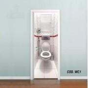 Adesivo De Porta Banheiro Toilet 3D