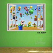 Adesivo Parede Janela 3D Super Mario Bross #01
