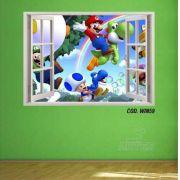 Adesivo Parede Janela 3D Super Mario Bross #02