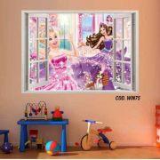 Adesivo Parede Janela 3D Barbie Princesa mod03